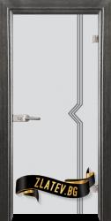 Стъклена интериорна врата Gravur G 13-3 с каса Сив кестен