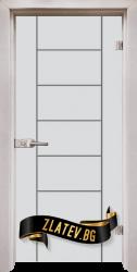 Стъклена интериорна врата Gravur G 13-6 с каса Перла