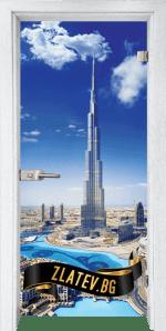 Стъклена интериорна врата Print G 13-16 Dubai с каса Бреза